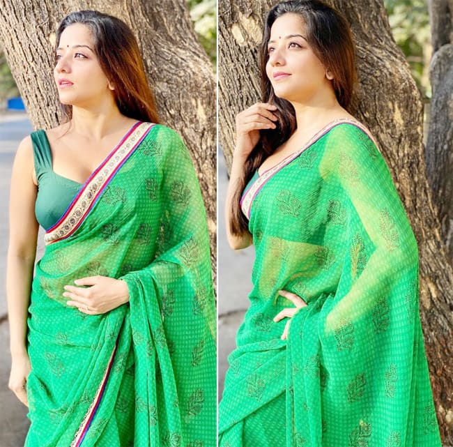 Monalisa is making her fans go crazy with the latest saree pics