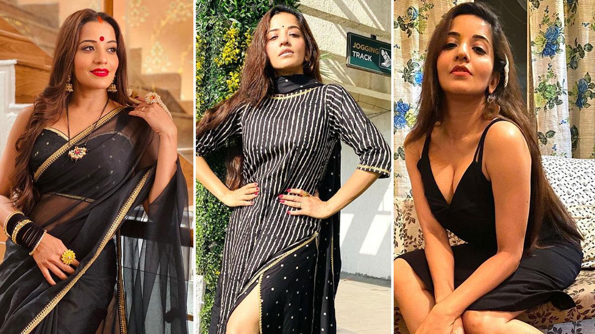 Monalisa Is Making Her Saturday Look Interesting With Sheer Black Saree Pics