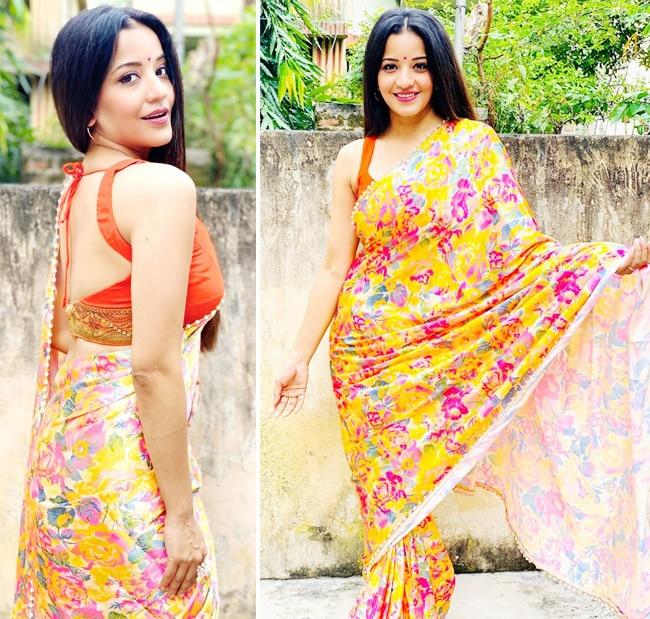 Monalisa is making her Tuesday interesting with orange saree photos