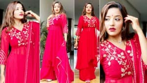 Monalisa Looks Like a Diva in Bright Red Suit | See Pics