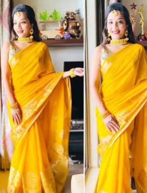 Monalisa Looks like a Ray of Sunshine in a Bright Yellow Saree for Shoshthi Pujo, See Photos