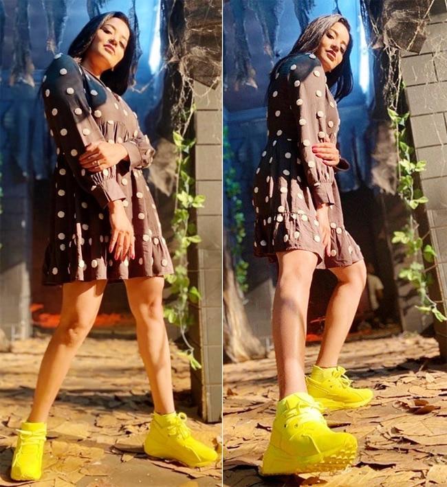Monalisa Looks Hot And Sexy in Polka Dot Mini Dress
