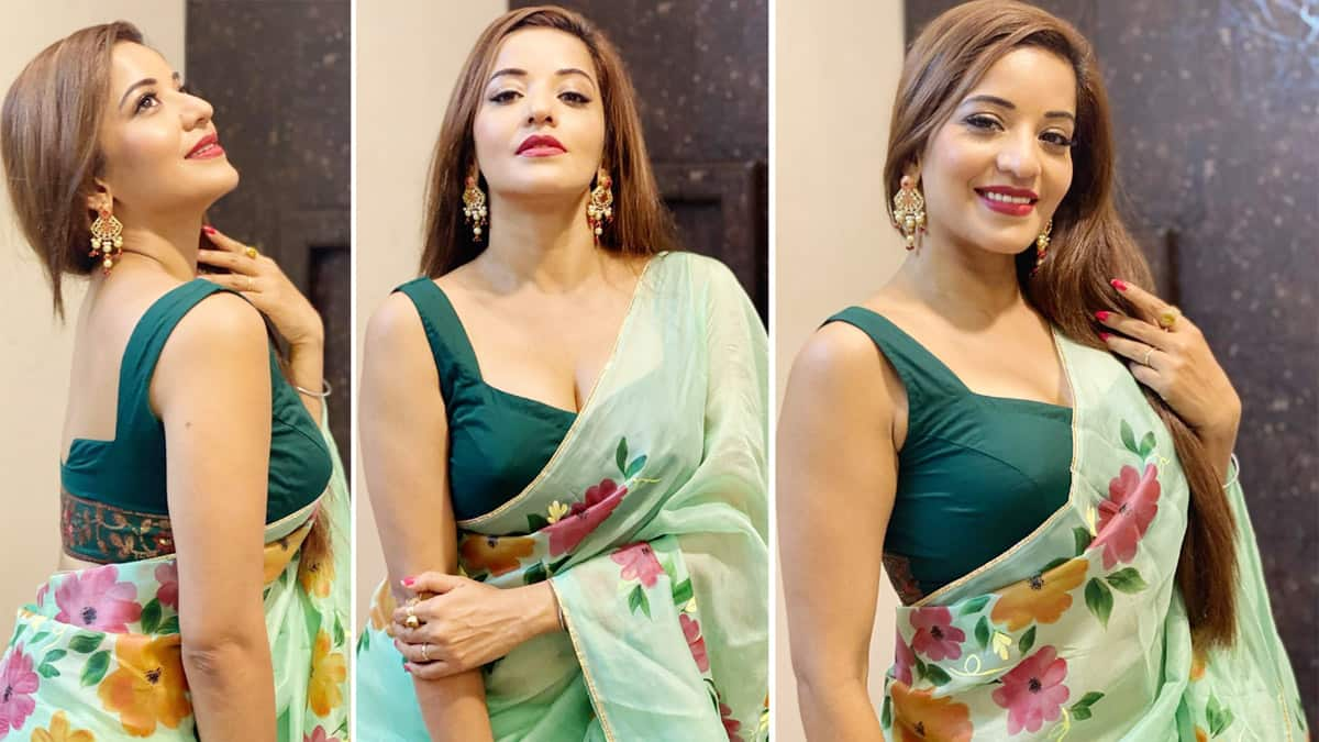 Monalisa looks hot  stylish and mesmerising in her green floral saree paired with a sleeveless blouse
