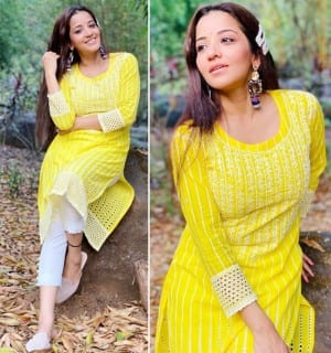Bhojpuri Sensation Monalisa Is A Ray Of Sunshine In A Yellow Chikankari Suit Set, See PICS