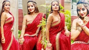 Monalisa Is Red Hot Bride In Sexy Saree Look In Latest Bold Photoshoot | See Pics