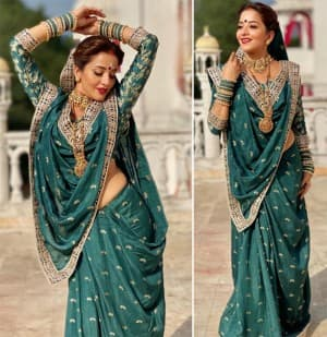 Monalisa Looks Gracious And Royal In A Traditional Teal Saree, See Latest Photos