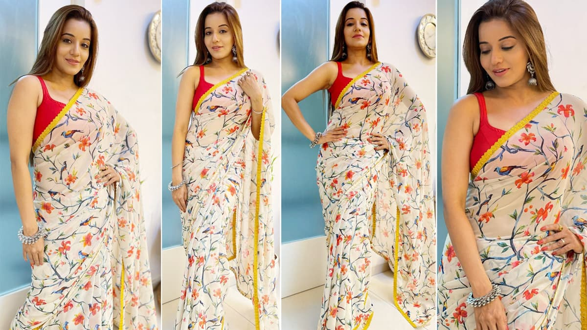 Monalisa shares hot pictures in a floral saree