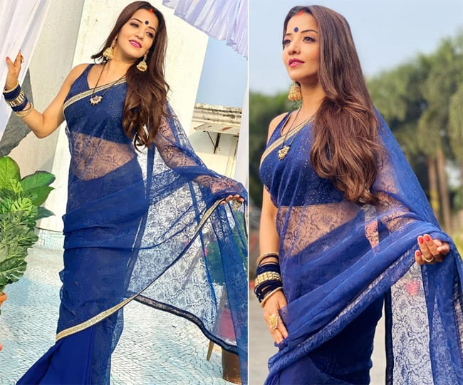 Monalisa shares new pictures in a blue saree