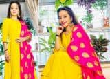 Bhojpuri And Naagin Star Monalisa Looks Beautiful in Yellow Suit With Pink Dupatta