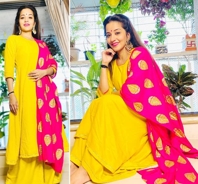 Monalisa   s ravishing pics in a yellow suit with pink dupatta go viral