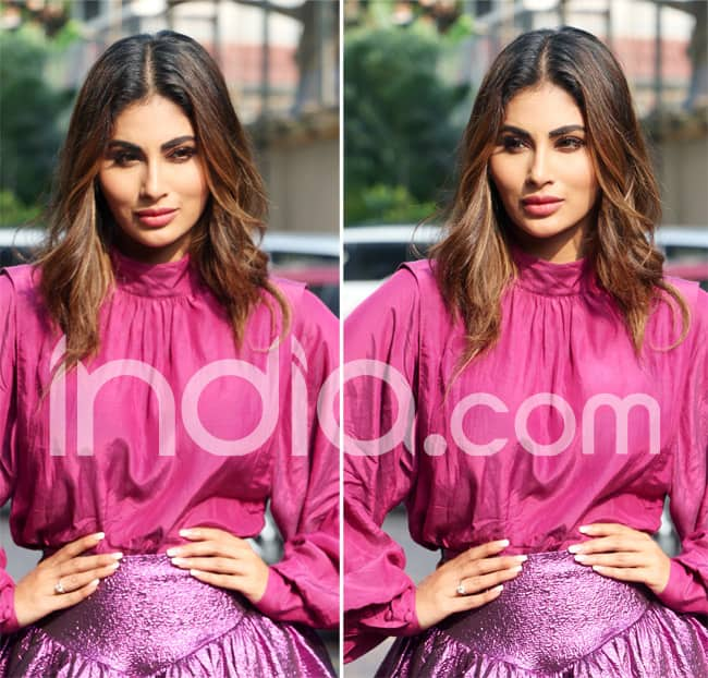 Mouni Looks Hot in Pink Top And Short Purple Shimmery Skirt