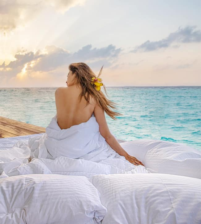 Mouni Roy Goes Backless Wrapped in Blanket as She Vacays in Maldives