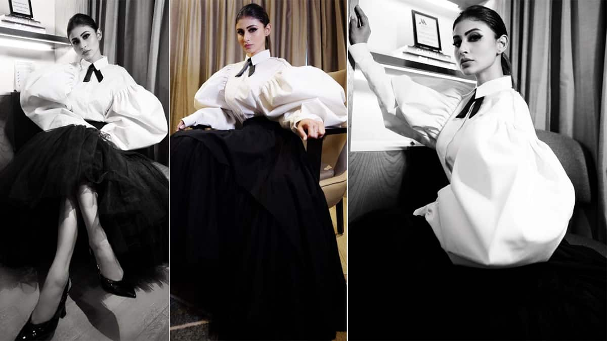 Mouni Roy looks elegant in a white wolf wing shirt worth Rs 16K     Photos Inside