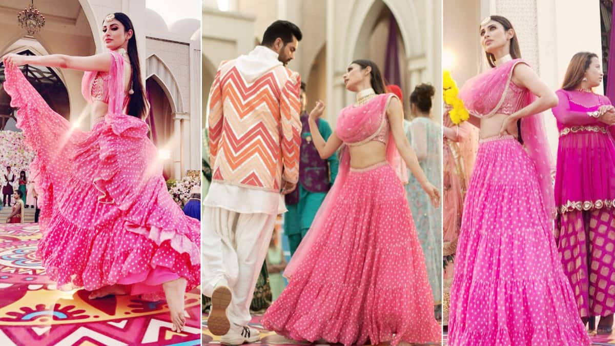 Mouni Roy Looks Hot In Pink Bandhani Lehenga as She Teases Angad Bedi in Beithe Beithe Song
