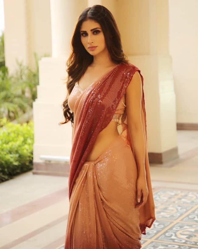 Mouni Roy looks sensational in her ombre saquin saree by Manish Malhotra