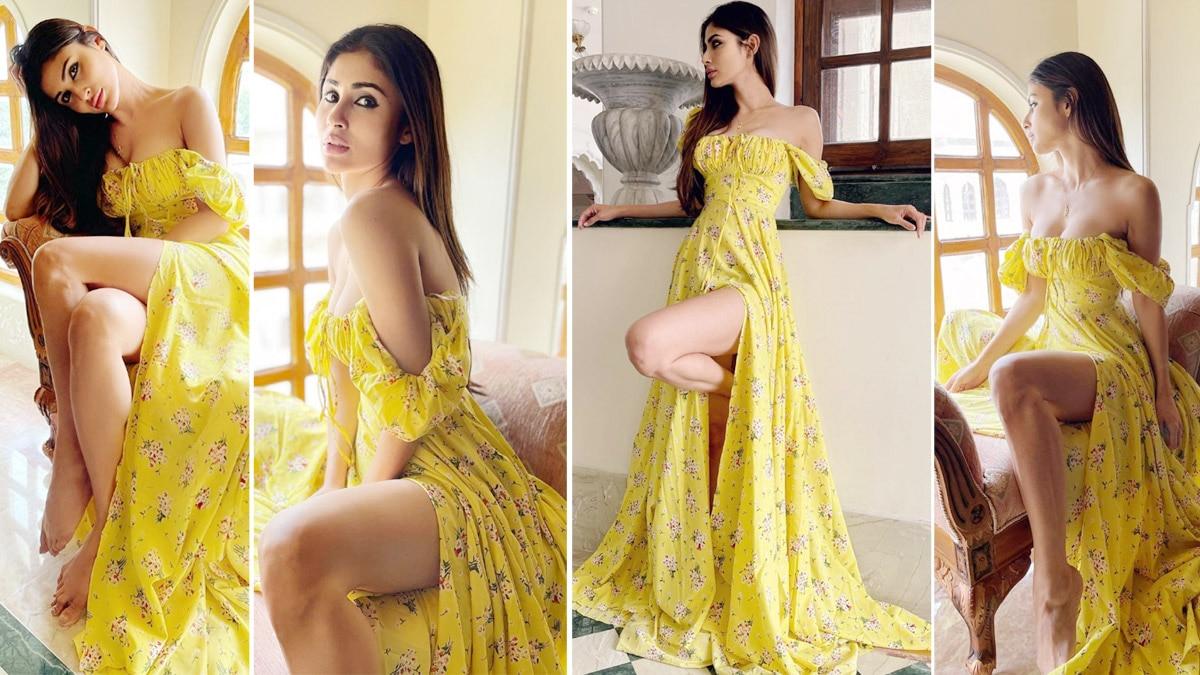 Mouni Roy Looks Smoking Hot In Yellow Floral Dress