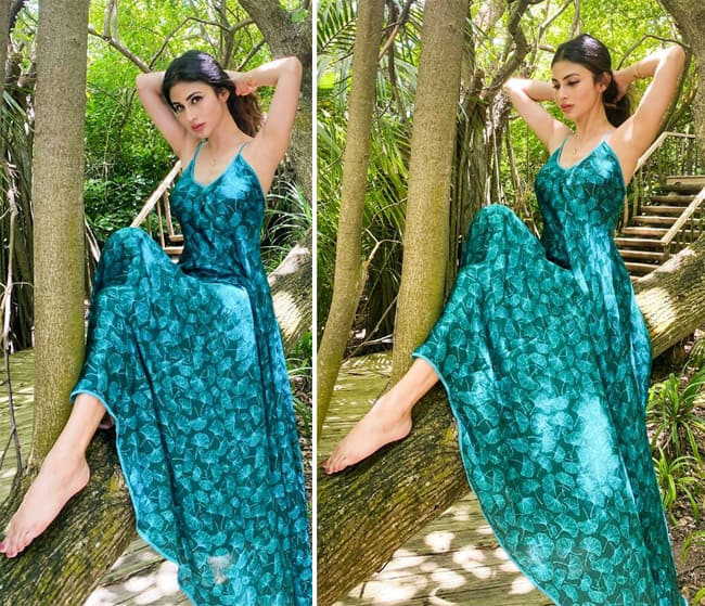 Mouni Roy Poses in Bollywood Style in Stunning Blue Gown