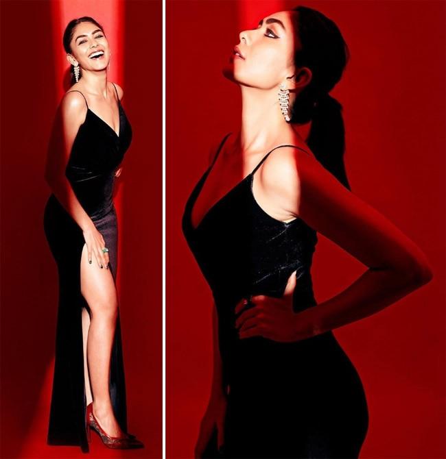 Mrunal Thakur looks stunning in a velvet black slit dress