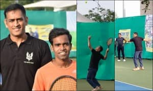 MS Dhoni Plays Tennis in Country Cricket Club Tennis Championship at JSCA, Ranchi, Former India Captain Wins First Game | SEE PICS