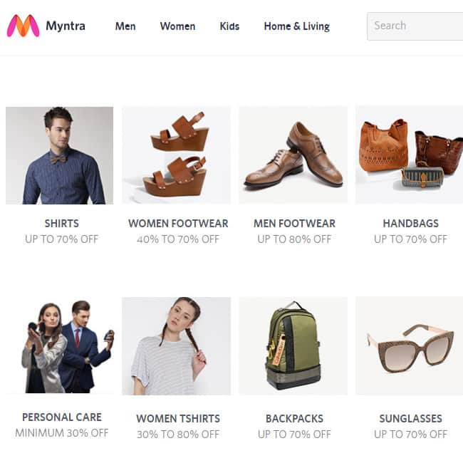 Myntra   s end of season sale applies on all categories