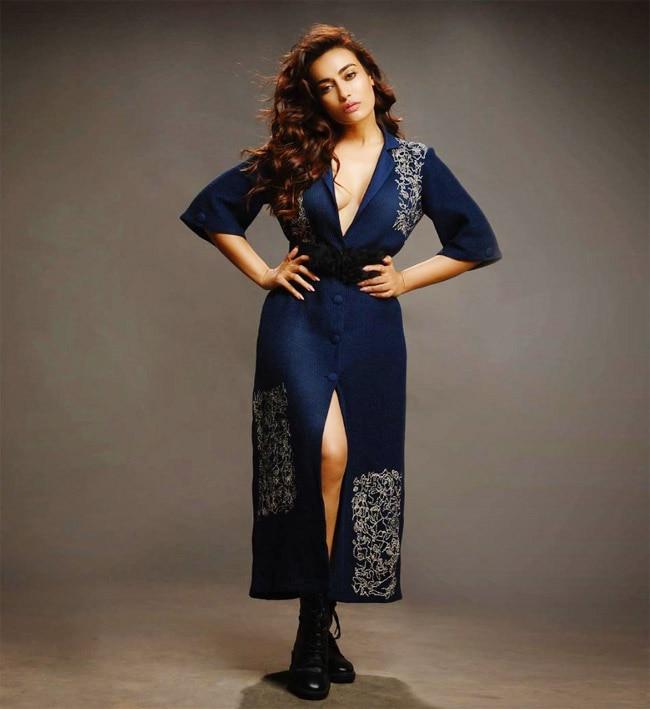 Naagin Fame Surbhi Jyoti Goes Sultry in Deep Neckline Blue Dress