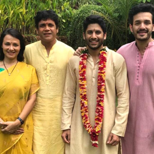 Naga Chaitanya snapped during his wedding rituals with Nagarjuna Akkineni  brother Akhil Akkineni and step mother Amala