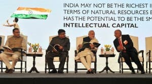Prime Minister Narendra Modi with Ravi Shankar Prasad & Jayant Sinha at Silver Jubilee Celebration Ceremony of NASSCOM (View Pictures)