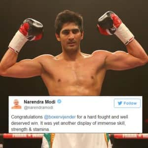 Boxer Vijender Singh's WBO Asia Pacific title victory: Congratulations poured in on twitter!