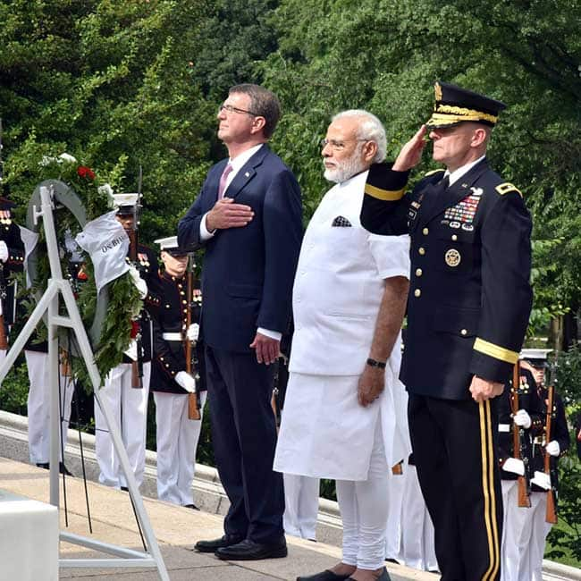 Narendra Modi pays homage to American soldiers at Arlington National Cemetery