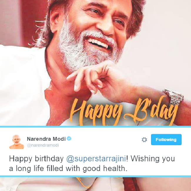 Narendra Modi Wishes Rajinikanth Via Twitter Happy Birthday