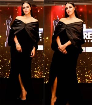 Neha Dhupia Sizzles in an Off-Shoulder Black Gown at The Amazon Filmfare Awards