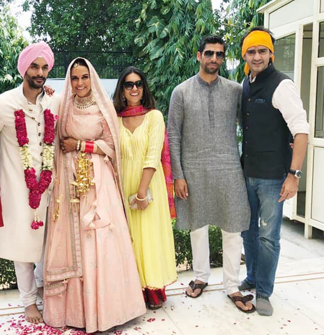 Neha Dhupia with Angad Bedi post marriage