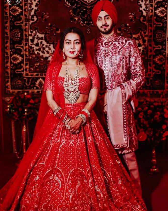 Neha Kakkar and Rohanpreet Singh's wedding look is royalty personified
