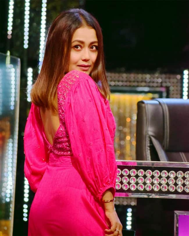 Neha Kakkar in a pink dress