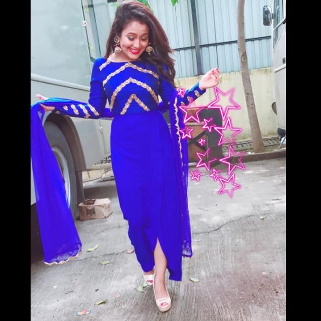 Neha Kakkar in designer red and blue sari | 8 Instagram pictures of