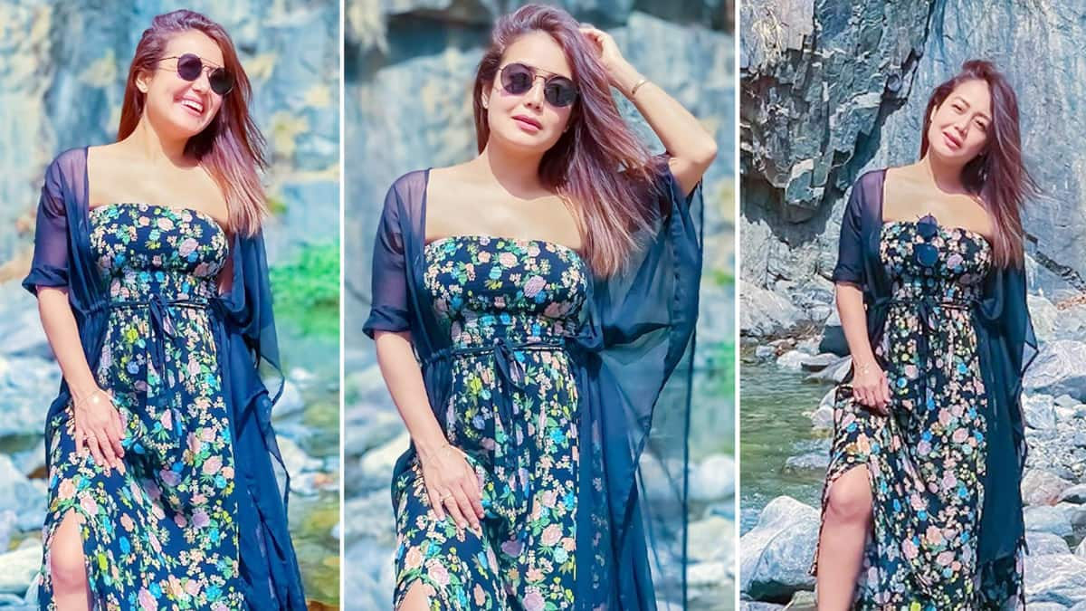 Neha Kakkar in Off Shoulder Floral Dress With Thigh High Slit is Setting The Internet on Fire
