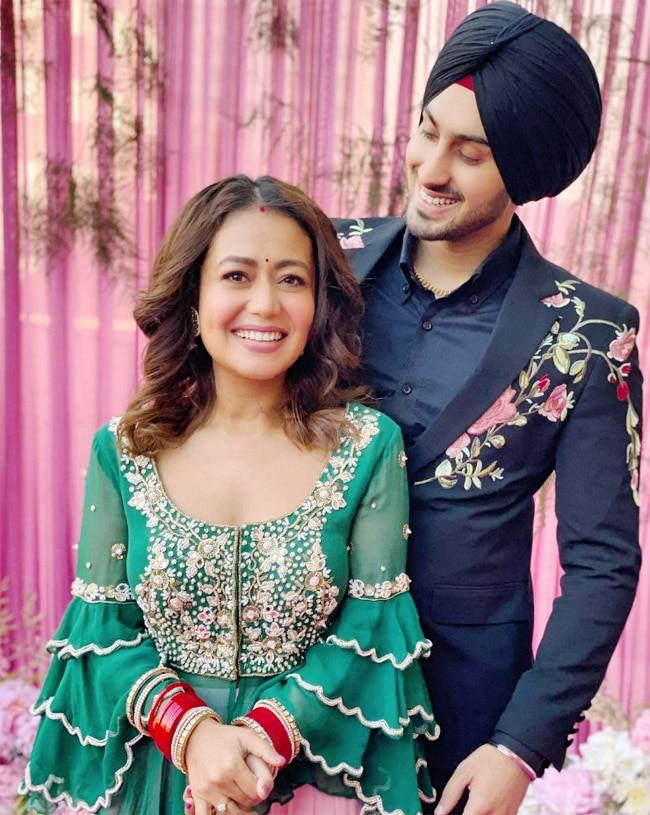Neha Kakkar Rohanpreet Singh look stunning on their first Lohri
