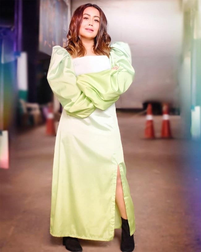 Neha Kakkar Shines Like a Diamond in a Green Midi Dress