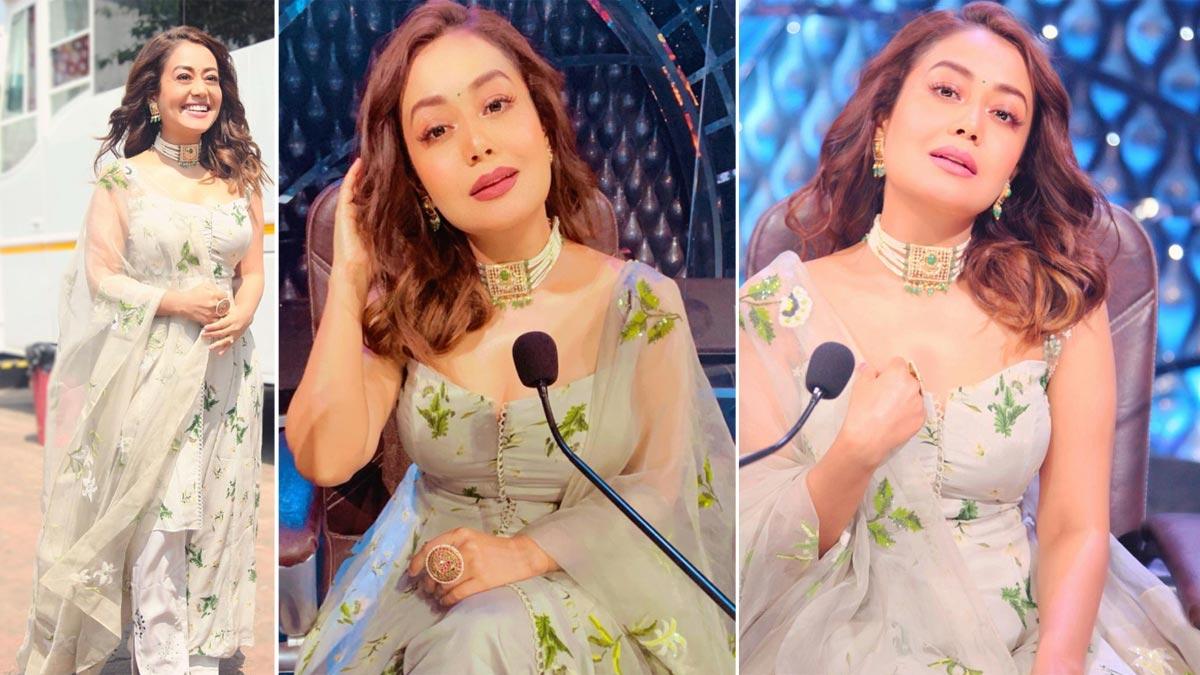 Neha Kakkar stuns in a jade suit on Indian Idol 12