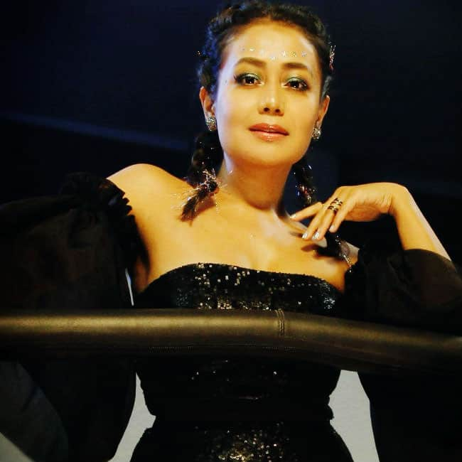 Neha Kakkar wears a black jumpsuit