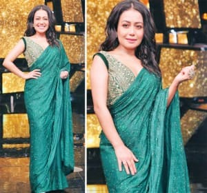 Neha Kakkar Looks Fabulous in Her Green Saree With Embroidered Blouse in These Viral Pics From Indian Idol 11 Sets