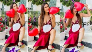 Valentine's Day Photos: Neha Malik Grabs Eyeballs in a Plunging Neckline Red Satin Dress, Plays With Heart Balloons
