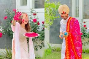 Photos From Neha Kakkar- Rohanpreet Singh's First Holi Celebrations, Newlyweds Look Majestic