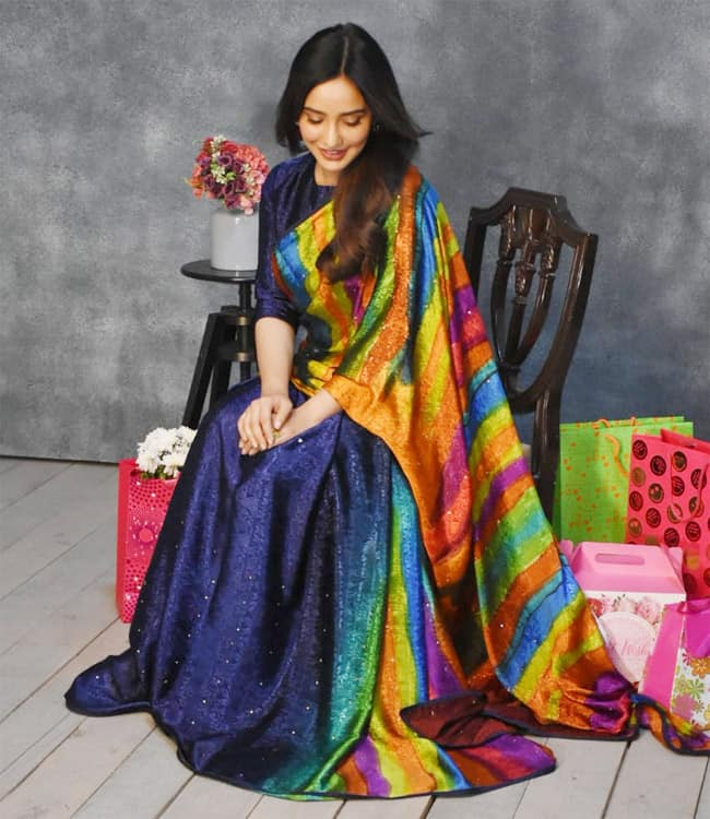 Neha Sharma Looks Drop Dead Gorgeous in This Sexy Multi Colour Sequin Saree