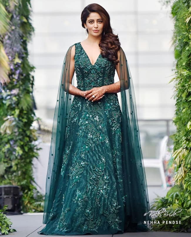 Nehha Pendse   s Engagement look is out and she gazed the occasion in a green gown