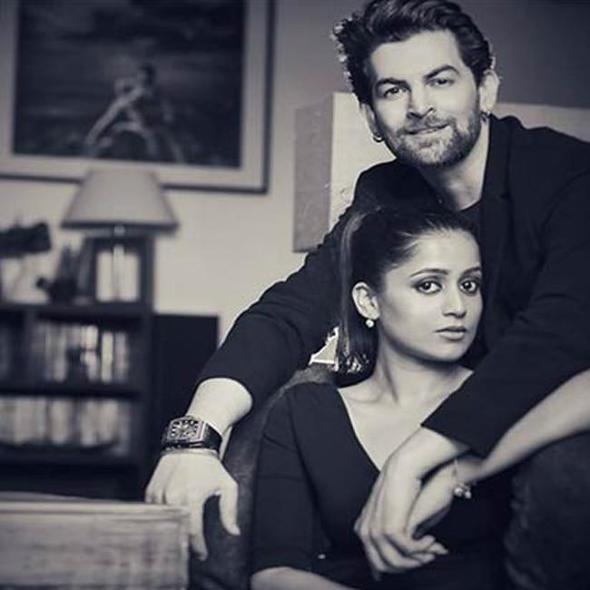Neil Nitin Mukesh posing with wife to be Rukmini Sahay during his pre wedding shoot