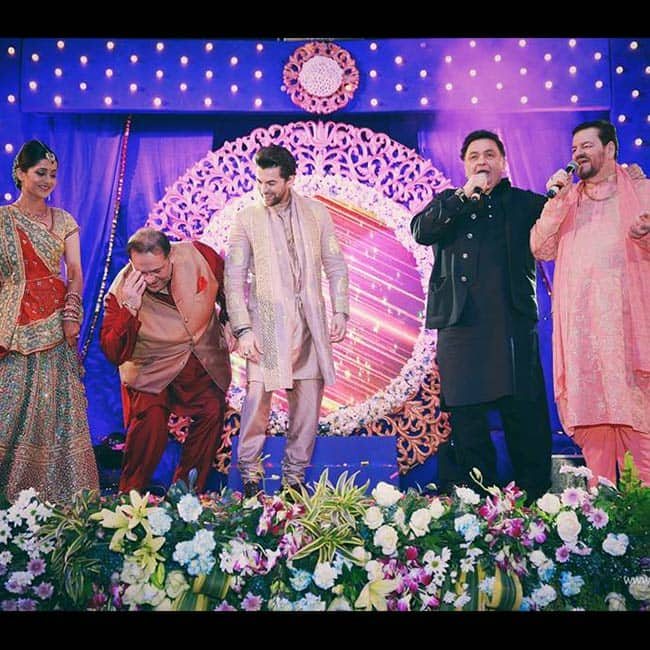 Neil Nitin Mukesh with father and Rishi Kapoor during sangeet ceremony in Udaipur