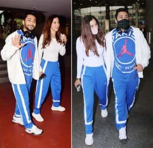 Gauahar Khan Refuses to Take Out Mask as She Walks Hand-in-Hand With Zaid Darbar at Airport - See Pics