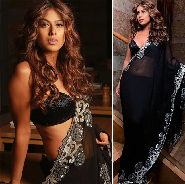 Nia Sharma Goes Bold And Sultry In Sheer Black Saree And Deep Neckline Blouse
