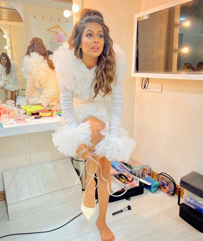 Nia Sharma looks like a vision in a white ruffle dress